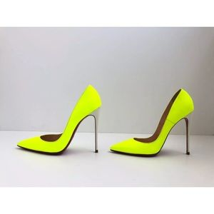 So Kate 120 Neon Patent Leather white heel